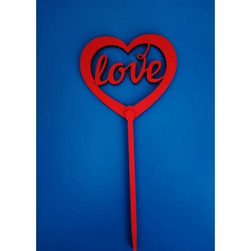 """Топпер  деревянный красный """"сердечко LOVE"""""""