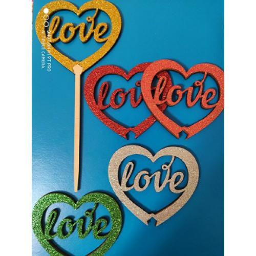 """Топпер  деревянный с блестками цветной """"сердечко LOVE"""""""