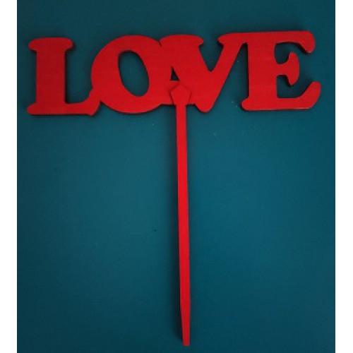 """Топпер  деревянный красный  """"надпись LOVE"""""""