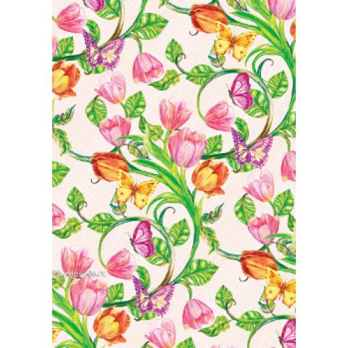 "Подарочная бумага В1 (707*1000мм) ""Тюльпаны, бабочки"""