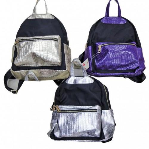 Рюкзак-сумка молодежный  ЧЕРНО - ЖЕМЧУЖНЫЙ-2 31*26*12см