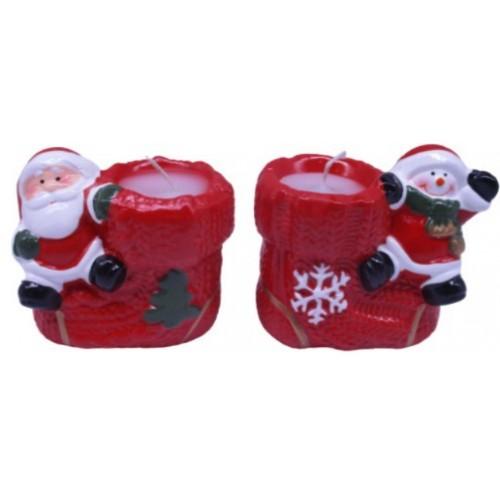 "Свеча параф. ""Дед Мороз/Снеговик на новогоднем сапоге"" 8*8,5см"