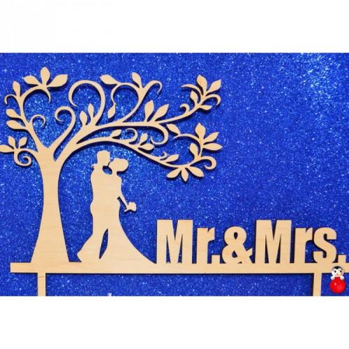 """Топпер  деревянный """"Mr.& Mrs.1"""""""