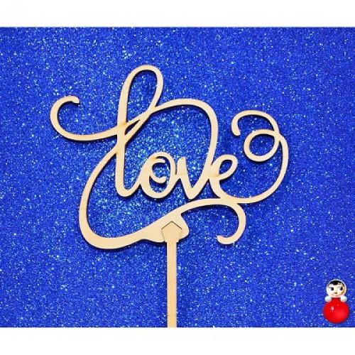 """Топпер  деревянный """"LOVE 1"""""""
