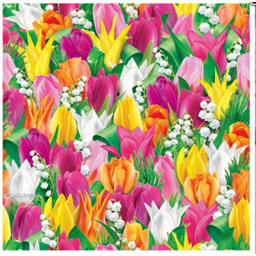 """Подарочная бумага В1 (707*1000мм) """"Весенняя-тюльпанчики разноцветные"""""""