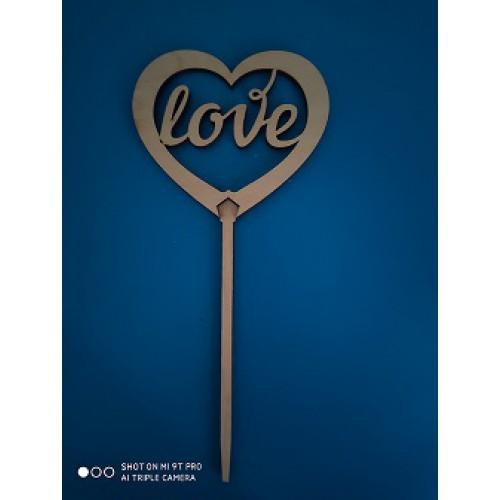 """Топпер  деревянный  """"сердечко LOVE"""""""