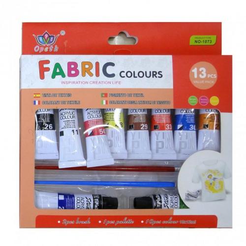 Краски-для ТКАНИ, 10цв*12мл + 2 кисти + палитра