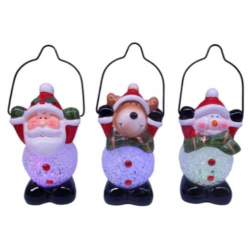 """Сувенир керамич., светящ., LED """"Шар снежный-Снеговик, Дед Мороз, Олень"""" 12,5см"""
