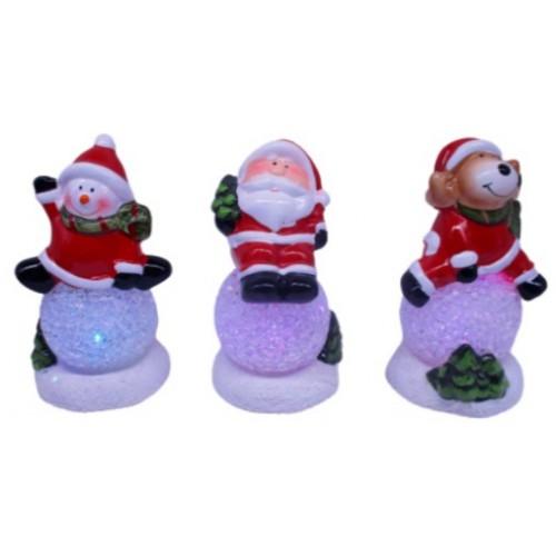 "Сувенир керамич., светящ., LED ""Снеговик, Дед Мороз, Олень на снежном шарике"" 12,5см"