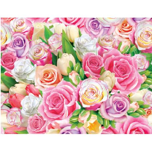 """Подарочная бумага В1 (707*1000мм) """"Цветы - розочки"""""""