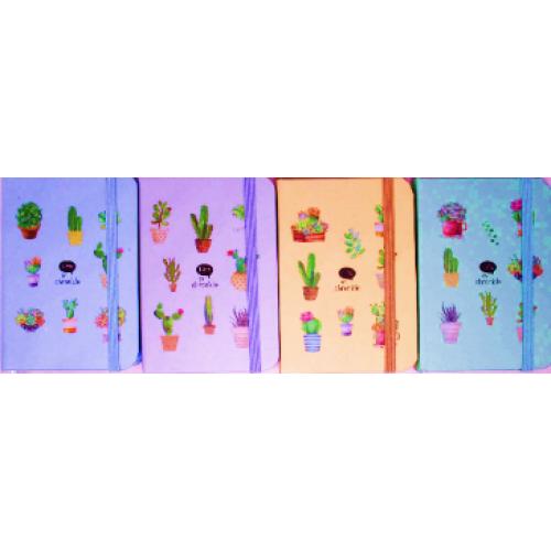 """Блокнот на резинке """"Кактус"""" (7,5*10,5см), 96л, к/з,  цвет.край, клетка"""