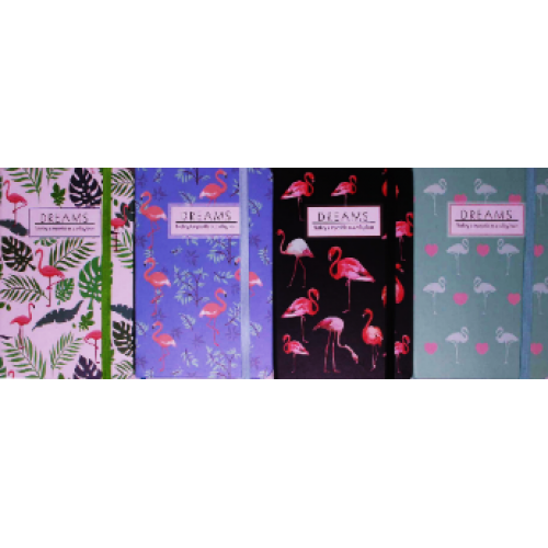 "Блокнот на резинке ""Фламинго"" (9*14см), 96л, к/з  цвет.край, клетка"