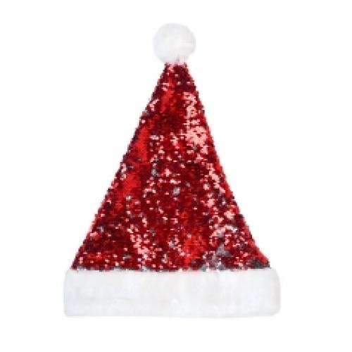 Шапка Деда Мороза с пайетками 2 стороны