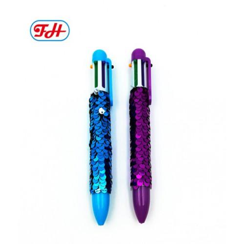 Ручка шариковая 6цв с пайетками