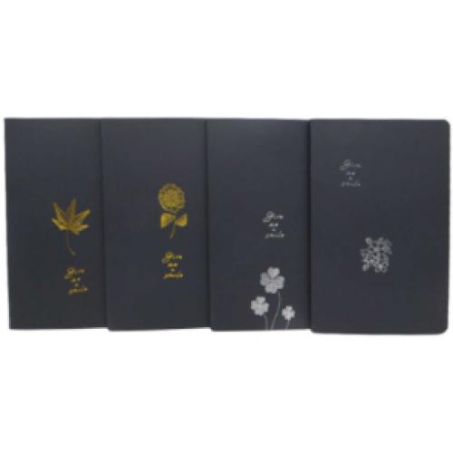 """Блокнот А5 """"Лист, цветок"""" 32л, черные страницы"""
