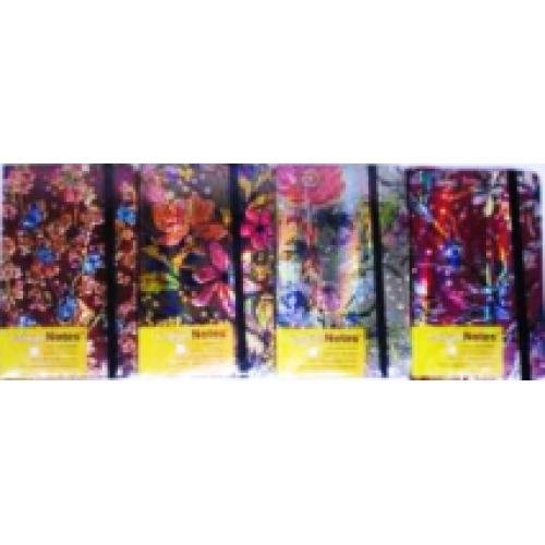 """Блокнот на резинке """"Цветы"""", 9*14см, 96л.,обл. голограф. 80гм2, клетка"""