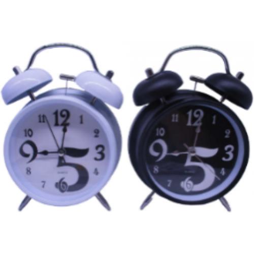 """Часы-будильник металлические """"Черно-белые"""" Ø8,5см"""
