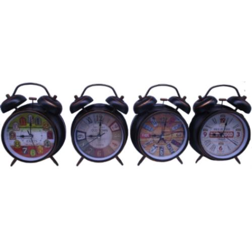 Часы-будильник металлические с цветным циферблатом Ø10см