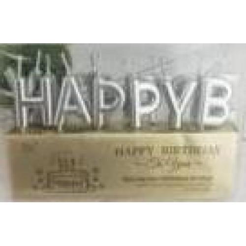 """Свечи для торта """"Надпись-Happy Birthday"""" серебро"""