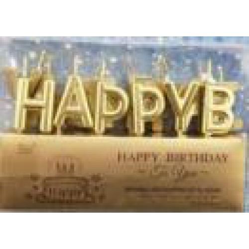 "Свечи для торта ""Надпись-Happy Birthday"" золото"