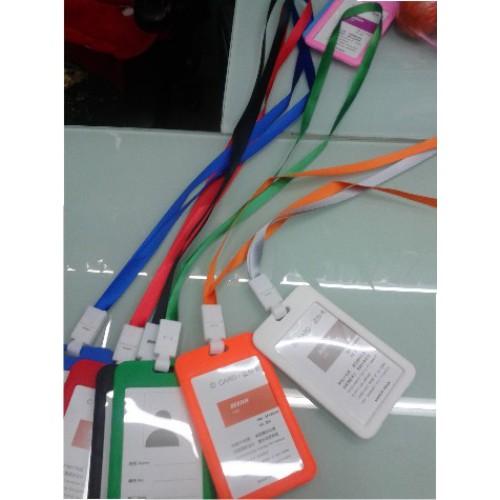 Бейдж на веревке, цветная пластиковая рамка, 54*85мм
