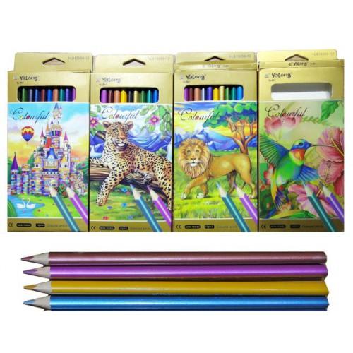 """Цветные карандаши 12цв """"Металлик"""", трехгранные"""