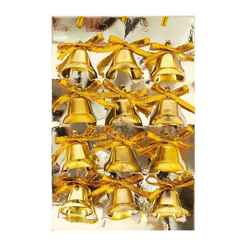 Колокольчик золотой с бантиком, пластик 2*2*2см (12шт)