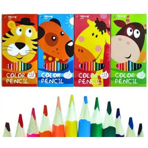 """Цветные карандаши 12цв """"Веселые зверята"""", трехгранные"""