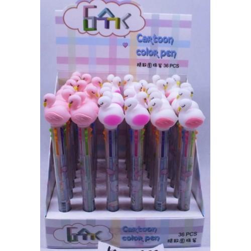 """Ручка шариковая 6цв """"Фламинго"""""""