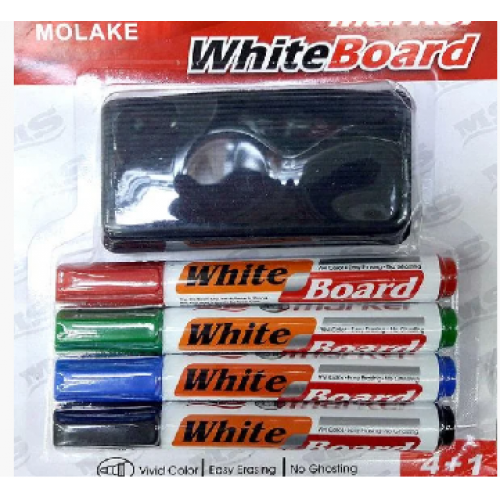Набор маркеров для белой доски 4шт + губка