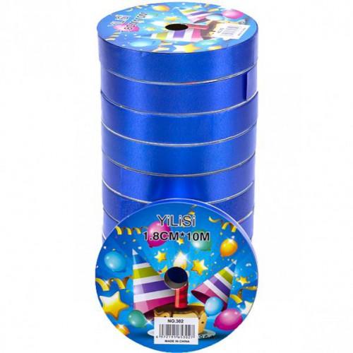 Лента декоративная 18мм*10м, синяя (1 колечко)