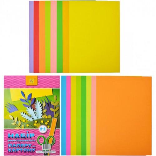 Набор цветной неоновой 2х сторон. бумаги и картона 16л(8+8)