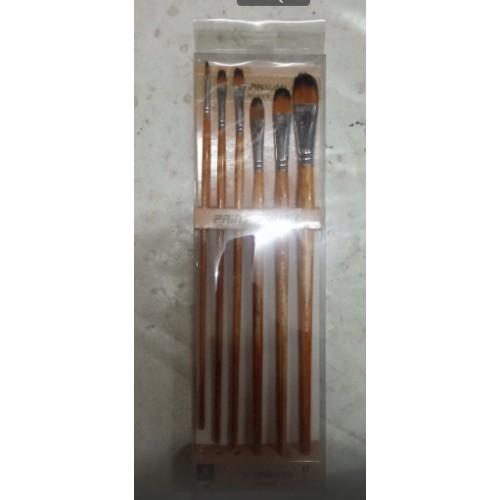 Набор кистей нейлон 6шт (плоские элипс, ручка - дерево)
