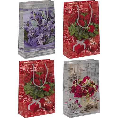"""Пакет цветной средний """"Цветы"""" 26*16,5*7см"""