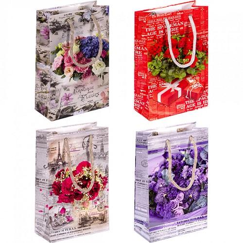 """Пакет подарочный малый """"Цветы"""", глянцевый, ручки шнурок 11*18*5см"""