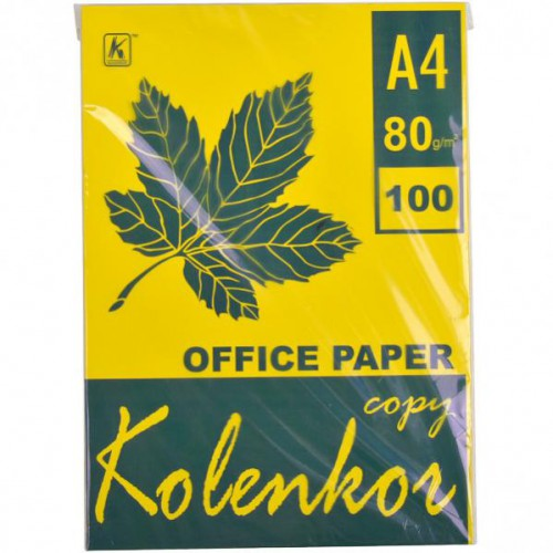 Бумага для ксерокса А4 100л, 80 г/м2 Насыщенная желтая