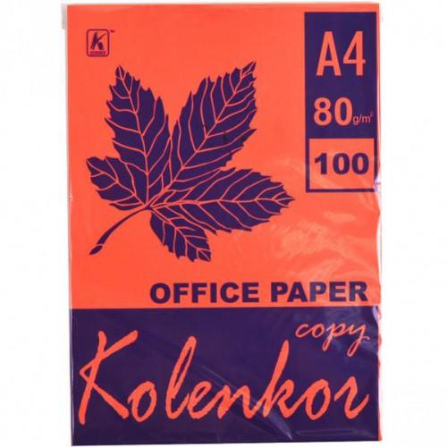 Бумага для ксерокса А4 100л, 80 г/м2 Насыщенная морковная
