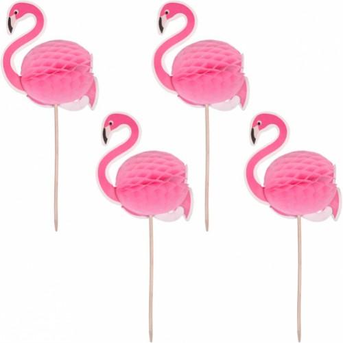 """Зонтик коктельный """"Фламинго"""" (4шт)"""