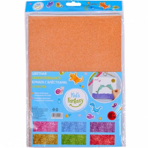 Набор клеевой цветной бумаги с глиттером А4, 10л, 6цв
