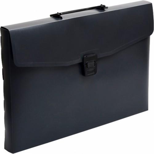 Портфель А4 пластиковый с ручкой, 1отд, черный