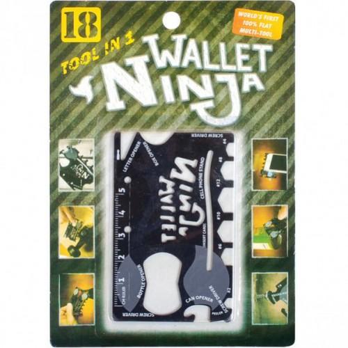 Нож ключ WALLET NINJA 18в1 (мульти-кредитка) 8,5*5,3см