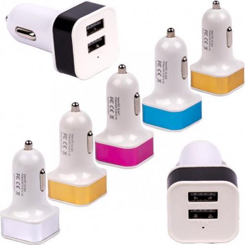 Автомобильный 2-USB адаптер 2.1А/1.0 А квадрат, 6*3*3см