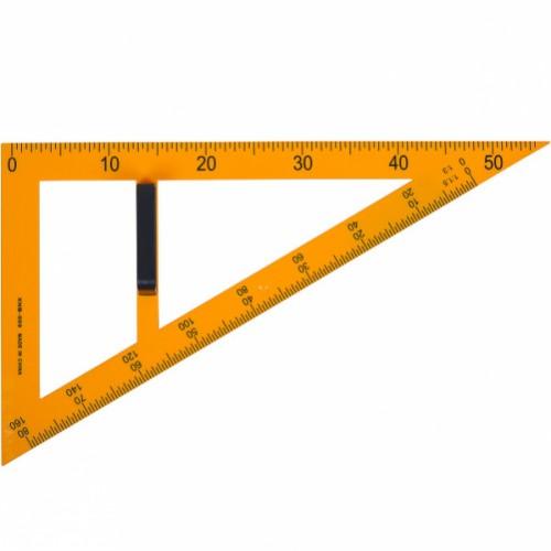 Треугольник прямоугольный пластиковый жёлтый, масштаб 1:1,5 1:3