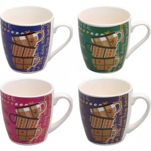 """Чашка """"с рисунком чашек Cofee"""" 200мл, h=8см, Ø7,5см, фаянс"""