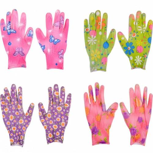 Перчатки прорезиненные женские с рисунком