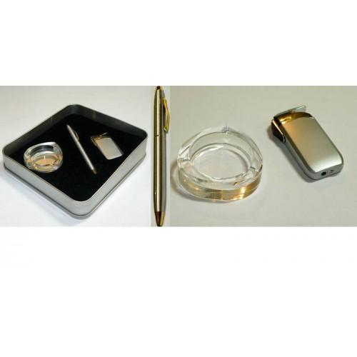 Набор подарочный мужской 3в1: пепельница стеклян.+шариковая ручка+зажигалка