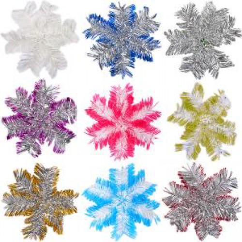 """Новогодняя """"Снежинка"""" из проволоки и дождика 23см"""