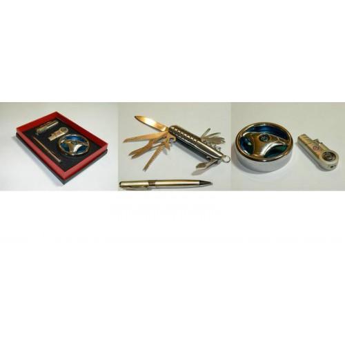 Набор подарочный мужской 4в1: пепельница пластик.+шариковая ручка+зажигалка+складной многофункциональный нож