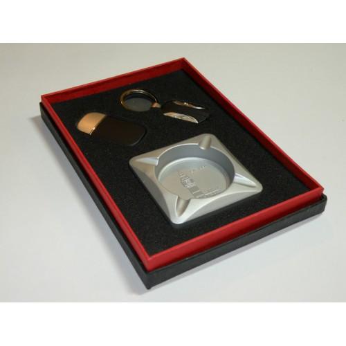 Набор подарочный мужской 3в1: пепельница метал.+брелок+зажигалка