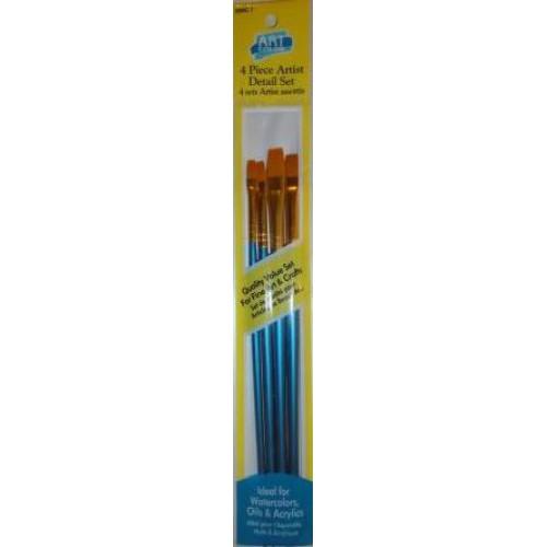 Набор кистей нейлон 4шт (плоские прямые, ручка - дерево)
